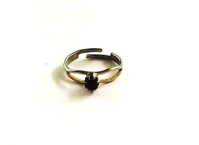 Vintage Silver Tone Black Rhinestone Women's or Child's Ring Size 5 Adjustable