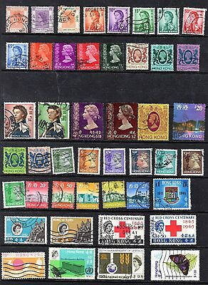 Hong Kong Used QEII Defins & Commems to $20, Over 40 Stamps