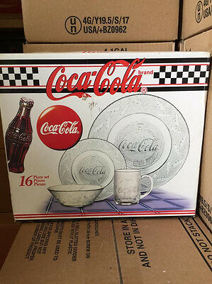 Coca Cola Gibson Dinnerware Plate Bowl Cup 16 Pc Dish Set