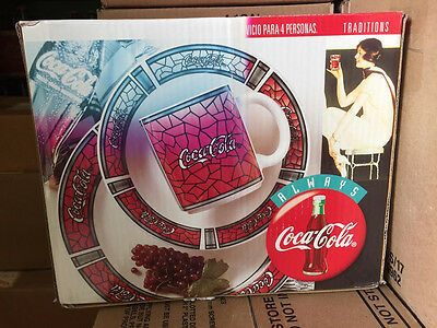 Coca Cola Gibson Dinnerware Plate Bowl Cup 12 Pc Dish Set