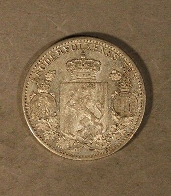 1899 Norway 25 Ore Silver Pleasant High Grade Coin     ** FREE U.S SHIPPING **
