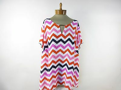 NEW DIRECTIONS WOMAN Women's Short Sleeve Chevron Blouse Top SIZE 2X Pink & Blue