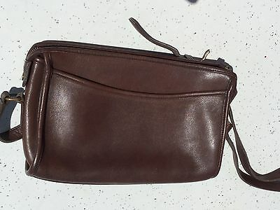 Vintage Genuine COACH Brown Leather Shoulder Purse Handbag