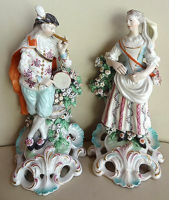 """Pair of 18th Century Derby Figures 9"""" with Bocage on Rococo Bases"""