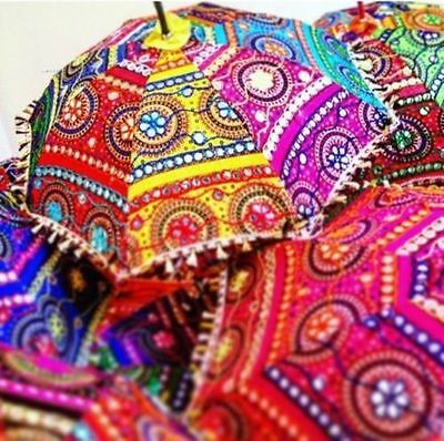 "10Pcs Lot Traditional Umbrella Rajasthani Hand Embroidered 24"" Vintage Parasols"
