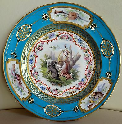 Stunning Jeweled Sevres Porcelain Hand Painted Plate with Hunting Dogs and Deer