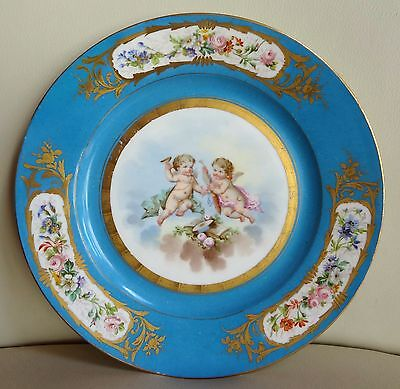 19th Century Sevres Porcelain Hand Painted Plate with Cherubs