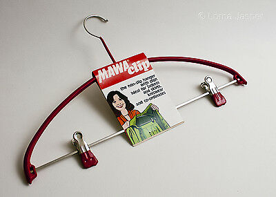 Vintage Red 1980s/90s MAWA Clip Non-Slip Coat Hanger with Clips BNIP FREE UK P&P