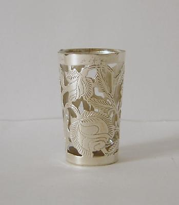A Tequila Shot Glass With An Ornately Engraved Sterling Silver Holder #2