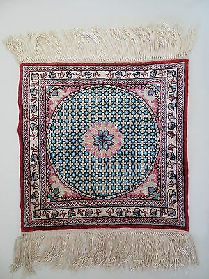 1x1 RED EDGE HAND KNOTTED PERSIAN SILK ORIENTAL RUG MAT SM CARPET, SIGNED FARSI