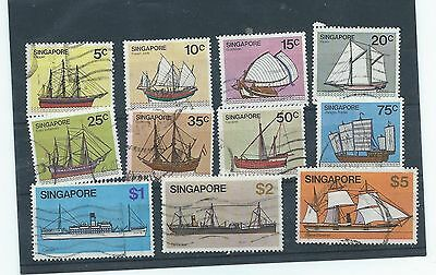 Singapore stamps. 1980 Ships partial series used $5 has creased corner. (T724)