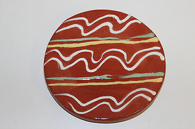 Folk Art Redware Decorated Signed Plate; Three Colors Of Wavy & Straight Lines