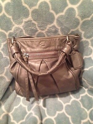 Coach Purse Hand Bag Pewter Shoulder Bag Cross Body