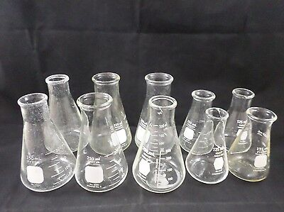 Lot of 10 PYREX KIMAX Glass 125/250mL Graduated Conical Erlenmeyer Flask J