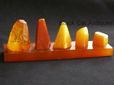 Original Set Of Five Honed Amber Samples 28.9 Grams Honey Butter Butterscotch