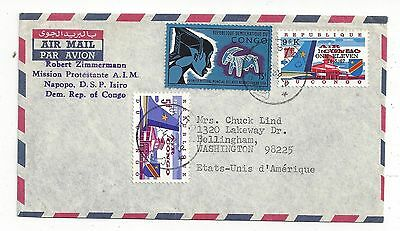 Congo 1968 Airmail Cover to US, Nice Mix with Surcharge