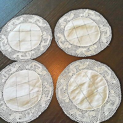 4 Lovely Linen Vintage  Flanders Lace Trimmed Doilies Tea Rounds Coasters