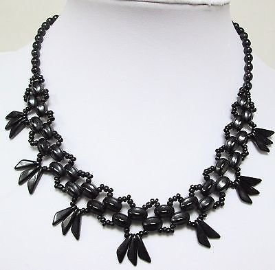 Good vintage Deco French jet bead collar necklace