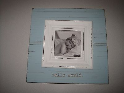Mud Pie Baby Photo Frame, Hello World/Blue, NEW WITHOUT BOX