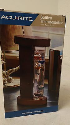 Acurite Galileo Thermometer with Wood Stand New in Box