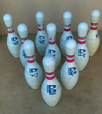 Lot of 10 Brunswick Max Red Stripe Bowling Pins Vintage? WIBC ABC plastic coated