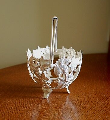 "SILVER PLATE BASKET candy dish holder GRAPES 6 1/2"" MADE IN ENGLAND Barker Bros."