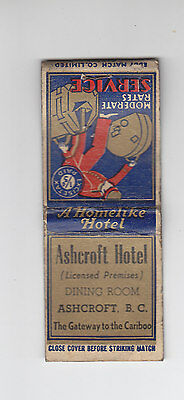 Old Ashcroft Hotel Matchbook B.C. Cariboo