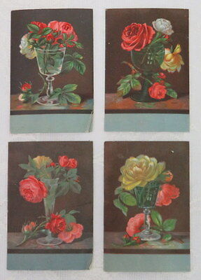 Victorian Trade Card,  Yankee Borax Soap, Rose Bouquets, Lot of 4 Cards
