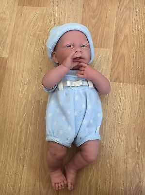 "NEW JC Toys 15"" La Newborn Blue Knit Real Boy Berenguer Baby Doll #18536"