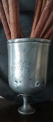 Antique Pewter Cup with Engraved Initials