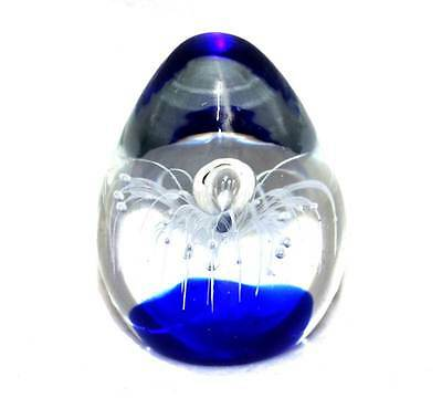 Vintage cobalt blue and clear controlled bubble art glass heavy paperweight