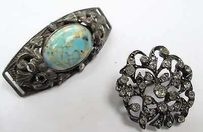 Good quality antique sterling silver & diamond paste brooch + 1