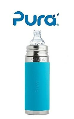 PURA Insulated Stainless Steel Toddler Sippy Cup Bottle 9oz XL Sipper Spout Aqua