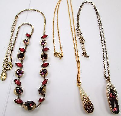 Three attractive vintage gold metal necklaces (amethyst & diamond paste etc)