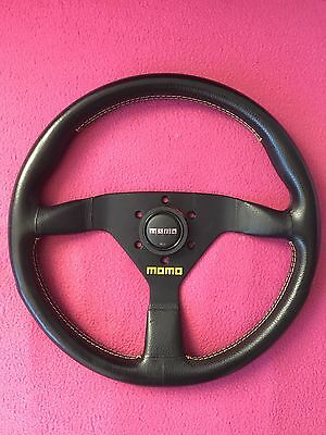 1993 Like New MOMO Veloce Corse 350mm Yellow Stitch Steering Wheel V35