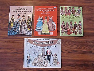 Lot Of 4 Paper Doll Books Betty Bonnet Godey's Lady's Victorian Wedding Party