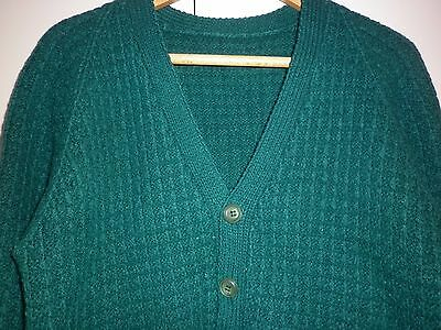 1960s GREEN HAND KNIT WOOL CARDIGAN SIZE L EXCELLENT CONDITION