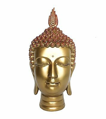"Large Thai Buddha Head Statue Figurine Gold Contemporary Decorative 15"" Tall"