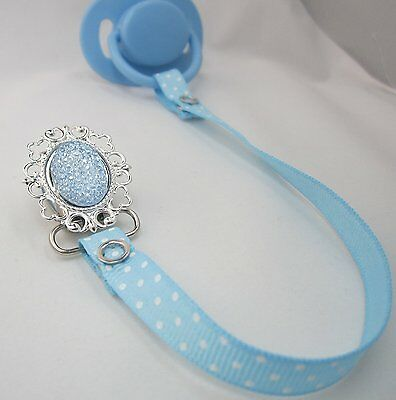 Crystal Dream Sparkly Elegant Light Blue Ribbon Pacifier holder RSB