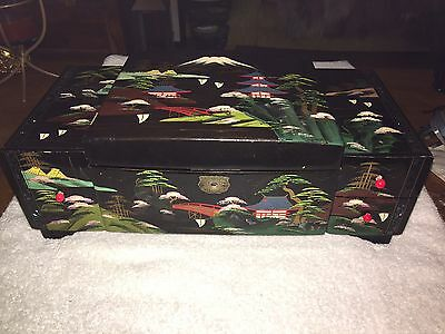 Vintage Japanese Black Lacquer Musical Jewellery Box