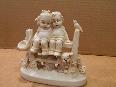 German ? Bisque Figurine  Boy & Girl Sitting on a Fence w/ Dog #10831 Antique