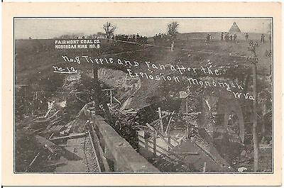 No. 8 Tipple and Fan After the Explosion in Monongah WV 1907 Postcard Mining