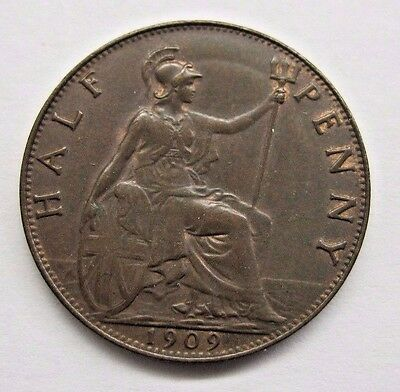 1909 Great Britain Half Penny.  Nice Details / Some Lustre.  See Pictures
