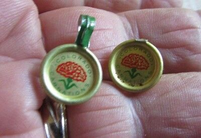 """2 Small """"COLORADO CARNATIONS"""" PINS - approx 1/2 inch diameter"""