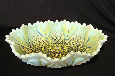 Antique English Vaseline Glass Bowl Circa 1900