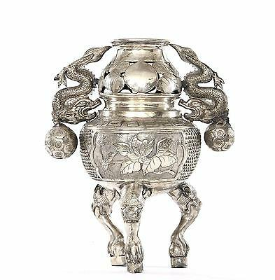 Old Chinese Silver Plated (NOT Silver) Tripod Censer Incense Burner Dragon