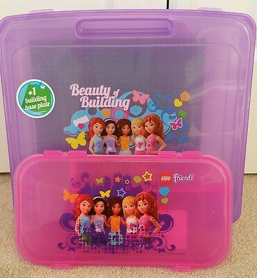 2 NEW Lego Friends Portable Play /storage cases Beauty of Building PURPLE Pink