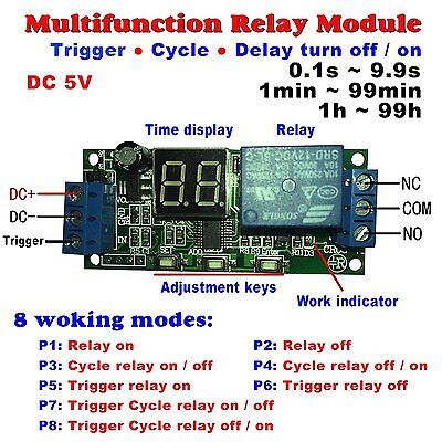 Qianson DC 5V 12V 24V Digital LED Display Infinite Cycle Delay Timer Switch ON/O