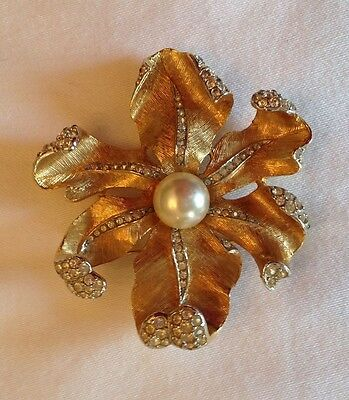 Vintage Gold Pearl Rhinestone Flower Brooch Signed Boucher