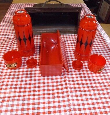 Vintage Aladdin Picnic Set 2 Thermos Sandwich Box, Table Cloth, & Carrying Case